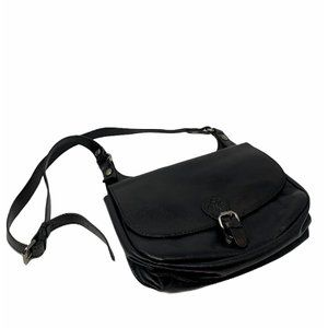 Patricia Nash London Black Leather Saddle Bag